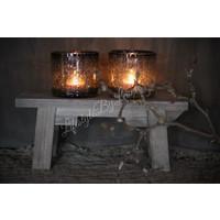 DUTZ cilinder windlicht met bubbels grijs 10 cm