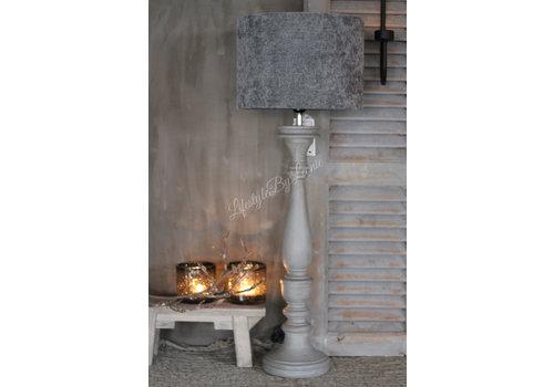 LifestyleByLeonie Cilinder lampenkap Velours grey 35 cm