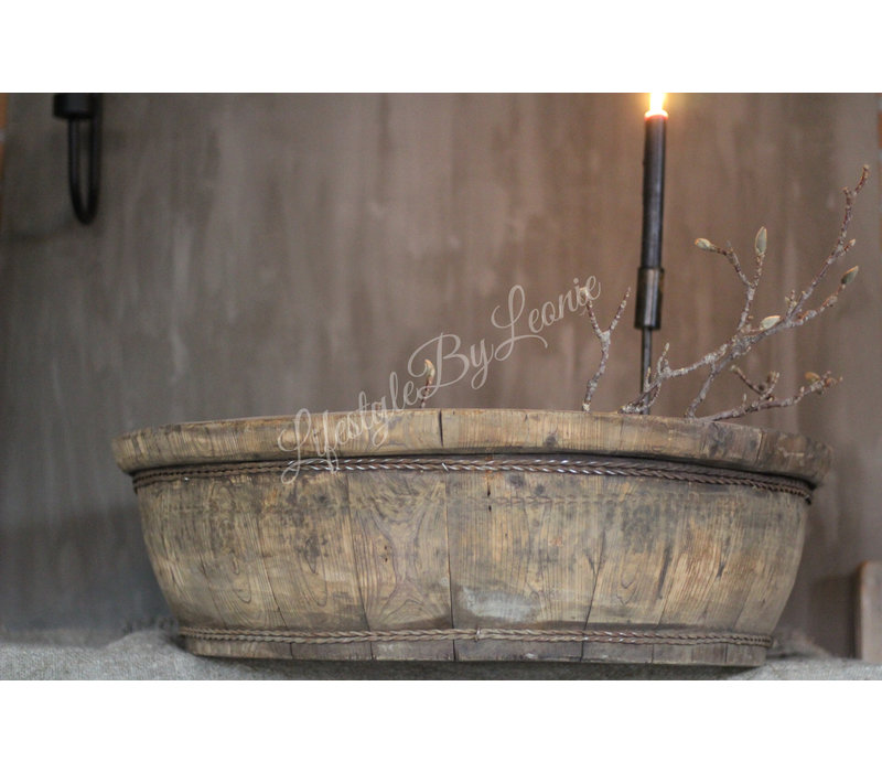 Ronde gebruikte houten olijfbak - maat XXL
