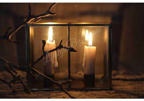 LifestyleByLeonie Glazen vierkant windlicht voor dinerkaars 17 cm
