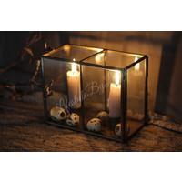 Glazen vierkant windlicht voor dinerkaars 17 cm