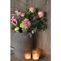 Zijden roos roze Open