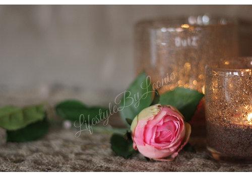 LifestyleByLeonie Zijden Roos roze knop 55 cm