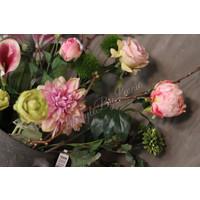 Zijden Roos roze knop 55 cm