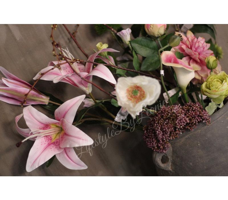 Zijden Calla wit/paars 48 cm