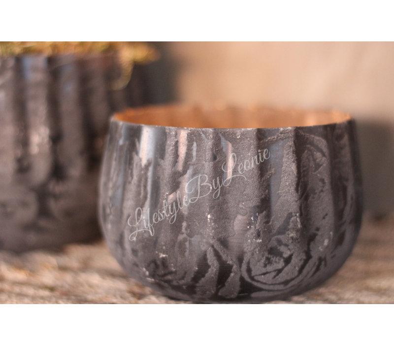 Metalen bloempot Black chiq - maat S