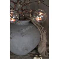 Glazen rond hangvaasje / waxinelichthouder 10 cm