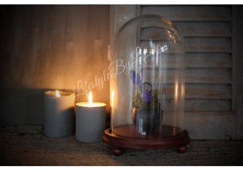LifestyleByLeonie Hoge glazen stolp Bell op platte houten voet 27 cm