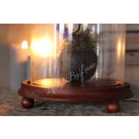 Hoge glazen stolp Bell op platte houten voet 27 cm