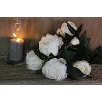 Bos zijden pioenrozen White