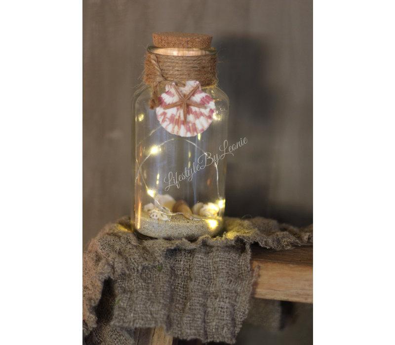 Glazen fles met LED en schelpen Summer - maat S