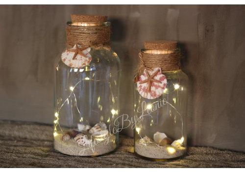LifestyleByLeonie Glazen fles met LED en schelpen Summer - maat M