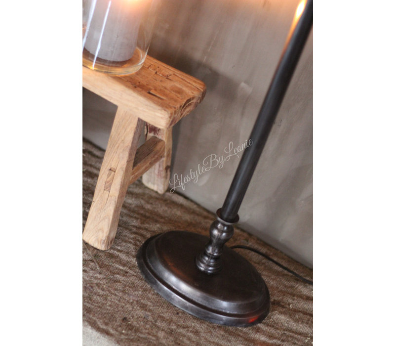 Metalen zwarte lampvoet Ovaal
