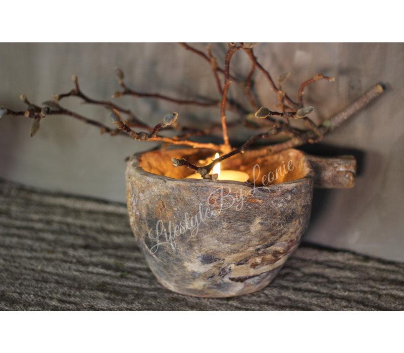 Oude houten vijzel met handvat Naturel