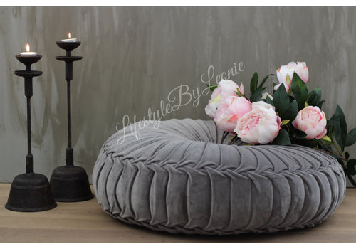 LifestyleByLeonie Rond velvet kussen Light grey 60 cm