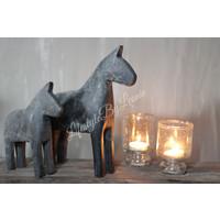 Houten paardje grijsbruin - maat L