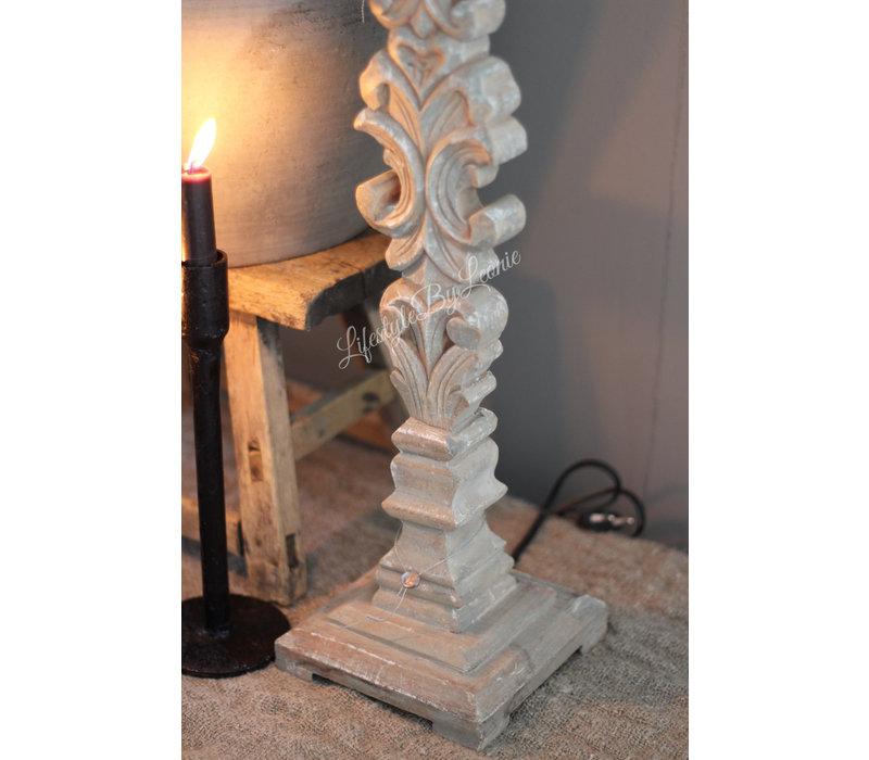 Aura Peeperkorn houtsnijwerk lampenvoet 68 cm