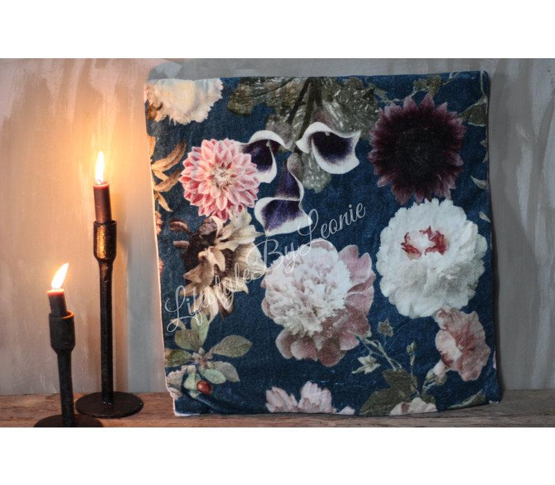 Kussen 'Flowerbomb' blue  45cm