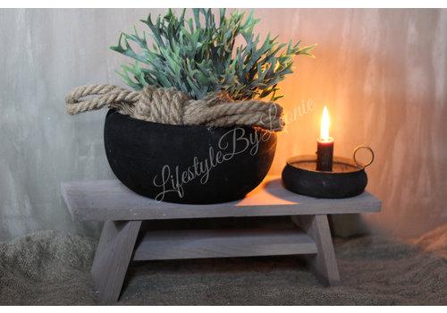 LifestyleByLeonie Ronde houten schaal Black