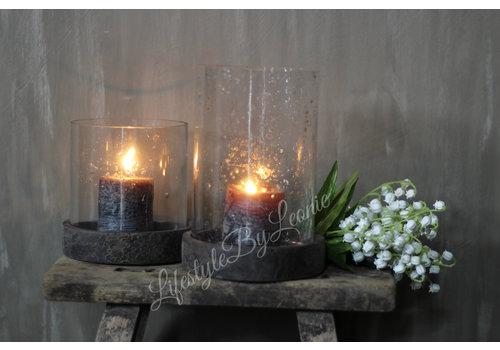 LifestyleByLeonie Pot/windlicht bubbels met houten deksel - maat S