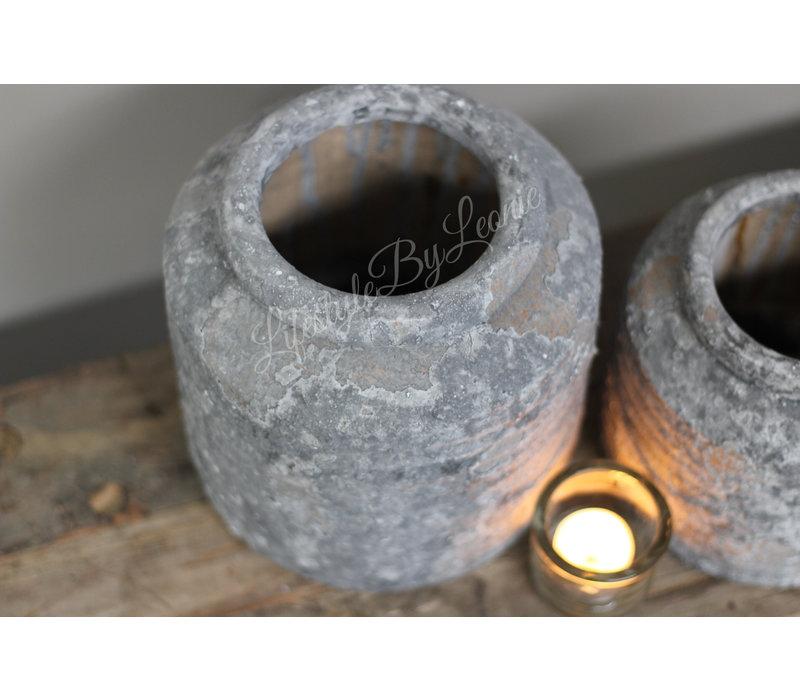 Kruik greywash Raw 19 cm