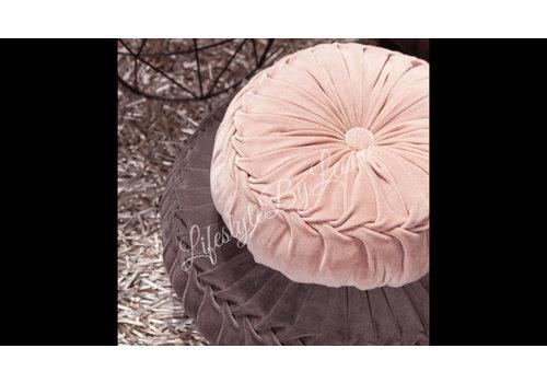 Rond velvet kussen Dark pink 40 cm