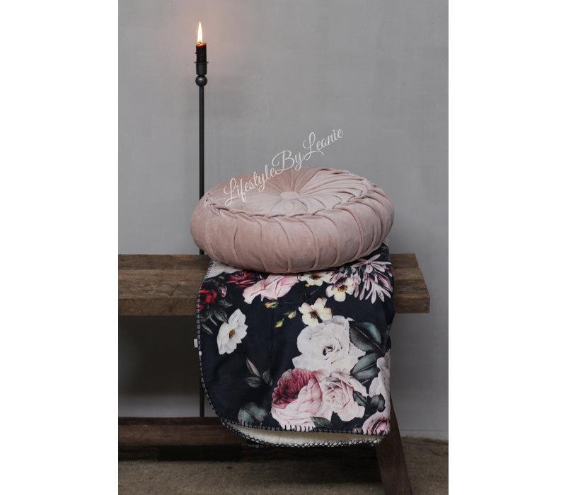 Rond velvet kussen Light pink 40 cm