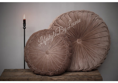 LifestyleByLeonie Rond velvet kussen Taupe 60 cm