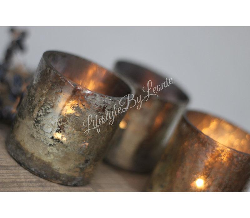 Waxinelichthouder oud zilver 6 cm
