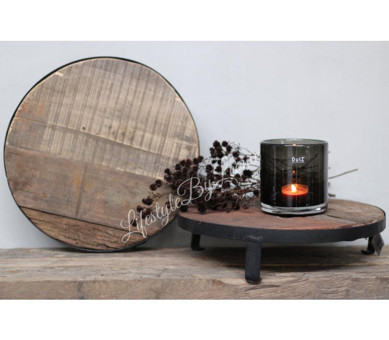 Ronde oud houten tray met ijzer 30 cm