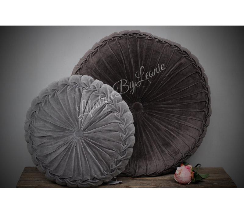 Rond velvet kussen Dark grey 60 cm