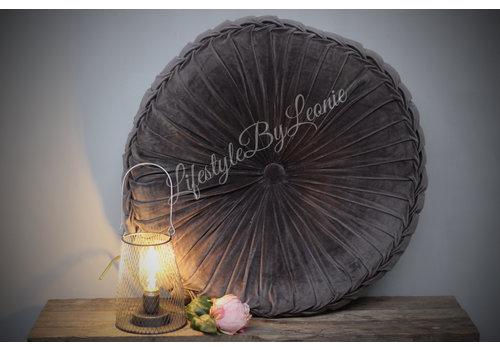 LifestyleByLeonie Rond velvet kussen Dark grey 60 cm