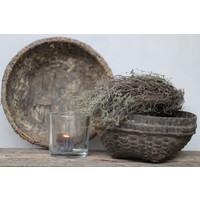 Authentieke oude leemmand / bamboemand klein