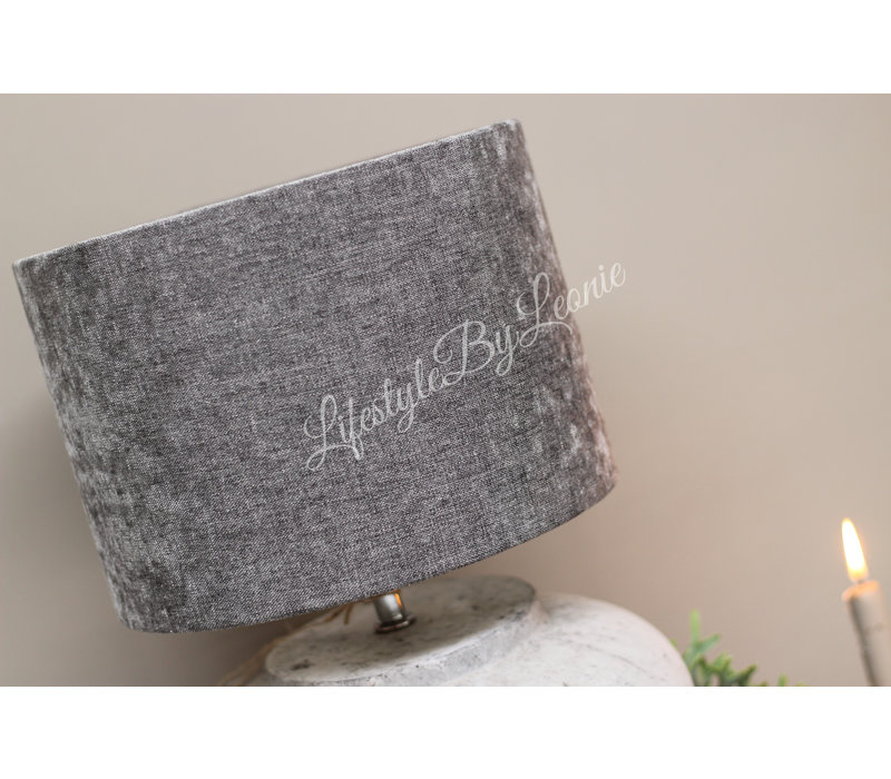 Cilinder lampenkap Velours grey 30 cm