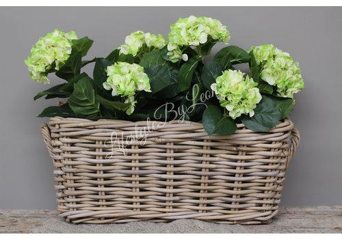 Zijden Hortensia in stenen pot green