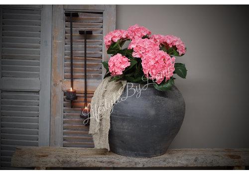 LifestyleByLeonie Zijden hortensia in stenen pot Pink