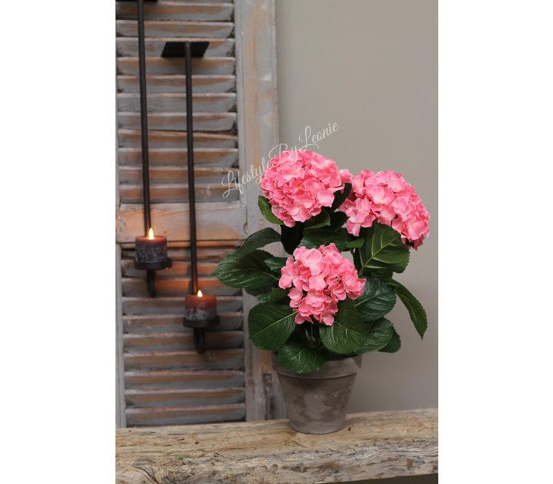 Zijden Hortensia in stenen pot pink