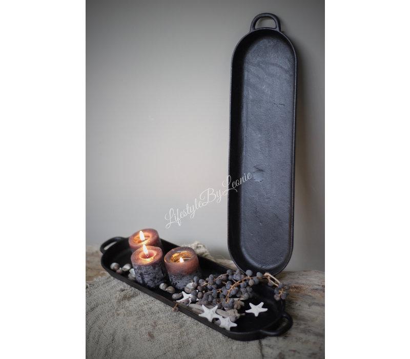 Zwarte smeedijzeren ovale tray / plateau 40 cm