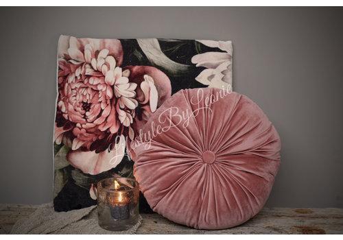 Rond velvet kussen Old pink 38 cm