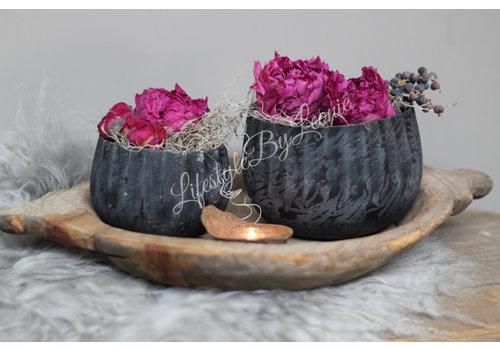 Metalen bloempot Black chiq - maat M