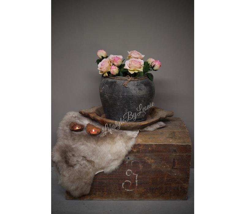 Authentieke Chinese kruik met touw grijs bruin