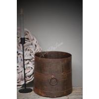 Oude ijzeren pot met ring|20cmH