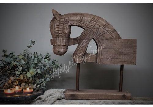 LifestyleByLeonie Houten paardenhoofd op standaard|36cm