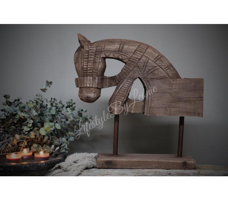 Houten paardenhoofd op standaard 36 cm