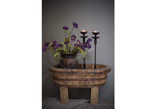 LifestyleByLeonie Oude houten ovale olijfbak op pootjes
