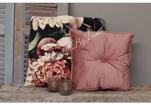 LifestyleByLeonie Vierkant velvet knoopkussen Old pink 40 x 40 cm