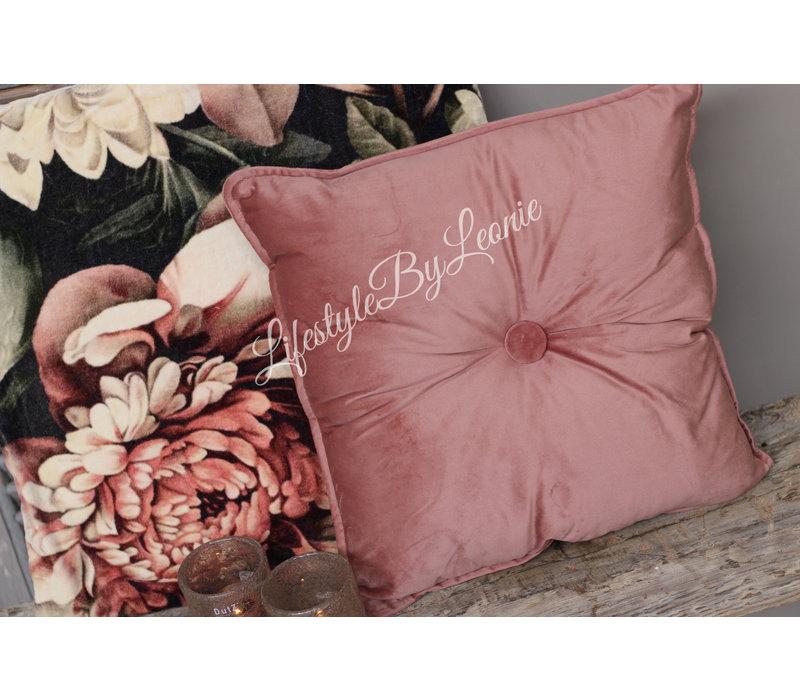 Vierkant velvet knoopkussen Old pink 40 x 40 cm