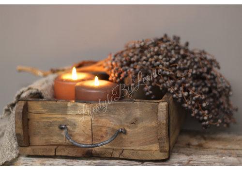 LifestyleByLeonie Oude houten steenmal Vierkant 23 cm