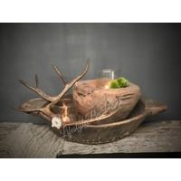 Oude houten vijzel - maat L