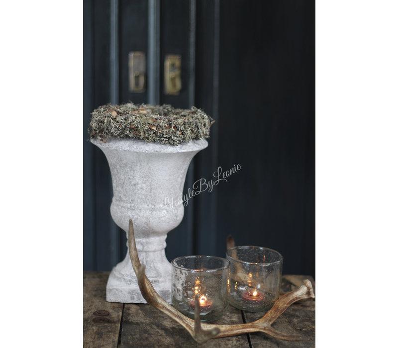 Zware lichtgrijze Franse louvre pot Ada 31 cm